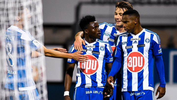 Evans Mensah, Kaan Kairinen, William Parra - HJK Helsinki. Photo: Jussi Eskola.